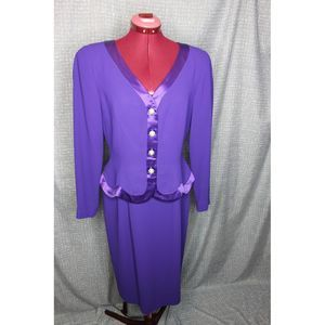 Talbots 1980s suit dress with peplum
